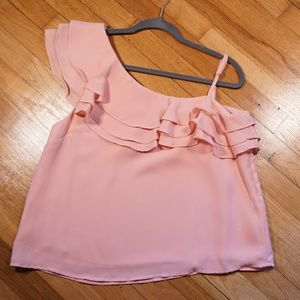J.O.A LA pink ruffle one shoulder top